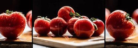 Collage frischer reifer roter Tomaten auf Zweig mit Wassertropfen auf Holzbrett isoliert auf schwarz