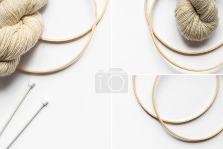 Photo for Collage of beige yarn and knitting needles and looms on white background - Royalty Free Image