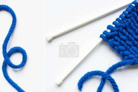 Photo pour Collage de fils de laine bleue et aiguilles à tricoter sur fond blanc - image libre de droit