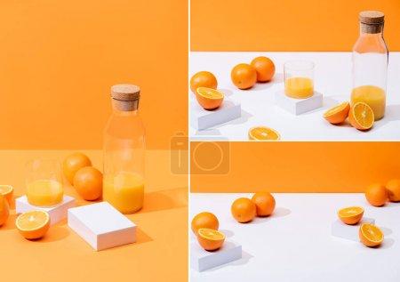 Photo pour Collage de jus d'orange frais dans du verre et une bouteille près d'oranges mûres isolé sur orange - image libre de droit