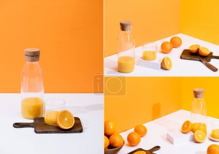 Photo for Collage of fresh orange juice in glass and bottle near cut fruit on wooden cutting board on white surface on orange background - Royalty Free Image