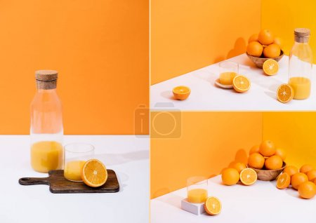 Photo for Collage of fresh orange juice in glass and bottle near oranges, bowl, wooden cutting board on white surface on orange background - Royalty Free Image