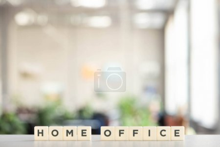 Photo for White cubes with home office lettering on white desk - Royalty Free Image