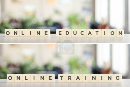 Photo for Collage of white cubes with online education and online training lettering on white surface - Royalty Free Image