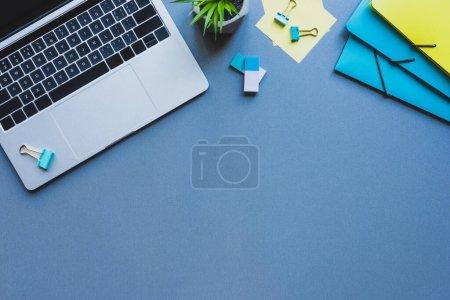 Photo pour Vue du dessus de l'ordinateur portable près des plantes et des fournitures de bureau sur la surface bleue - image libre de droit