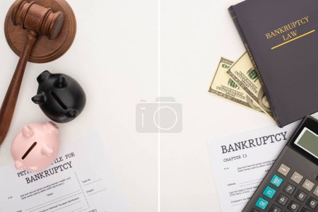 Photo pour Top view of bankruptcy papers and law book, gavel, piggy banks, money and calculator on white background, collage - image libre de droit