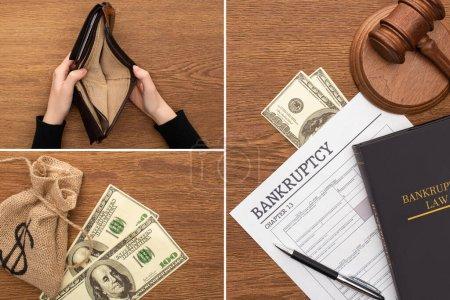 Photo pour Collage de papier de faillite, livre de droit et marteau, dollars et sac d'argent, mains féminines avec portefeuille vide sur fond en bois - image libre de droit