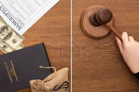Photo pour Collage d'argent, papier de faillite et livre de droit, main féminine avec marteau sur fond en bois - image libre de droit