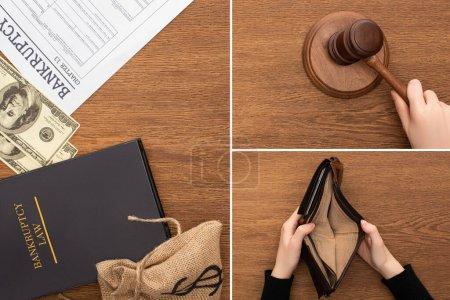 Photo pour Collage d'argent, papier de faillite et livre de droit, mains féminines avec marteau et portefeuille vide sur fond en bois - image libre de droit