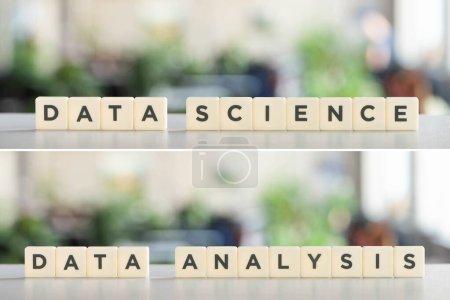 Photo pour Collage de cubes blancs avec inscription science des données et analyse des données sur surface blanche - image libre de droit