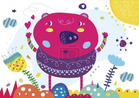 Photo for Ilustracion infantil cerdo escandinavo arte digital imprimir habitacion  animal, estilo diseo arte hojas campo verde naranja rojo violeta - Royalty Free Image