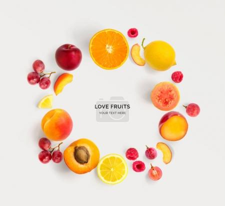 Various fruits in shape of circle