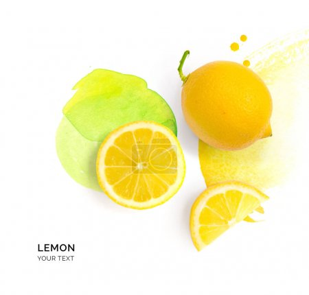 Composition lemon and slices laid out