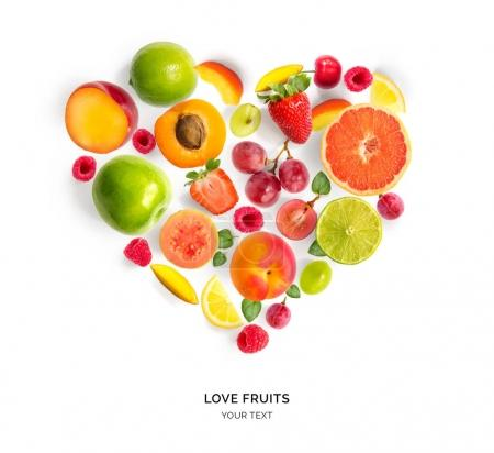 Various fruits in shape of heart