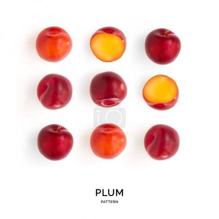 Pattern of plums laid out symetrically