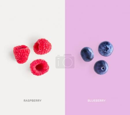 Split screen with raspberries and blueberries
