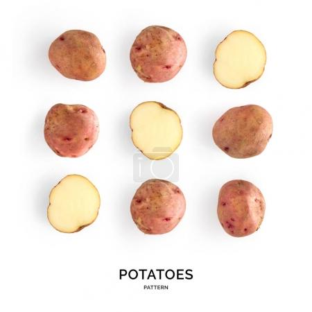 Pattern of potatoes laid out symetrically