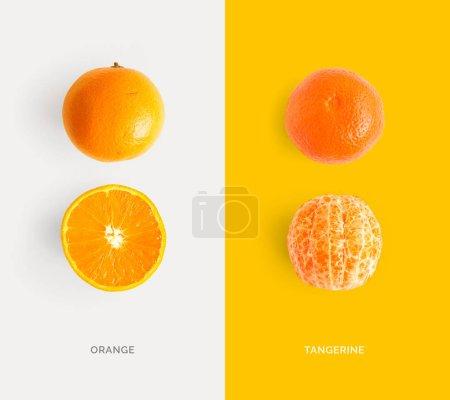 Photo pour Mise en page créative en tangerine et orange. Laisser reposer. Concept alimentaire. - image libre de droit