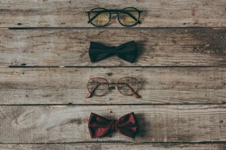 Stylish eyeglasses and bow ties