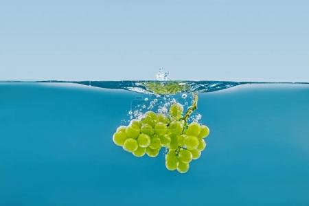 branch of grapes falling into water with splashes