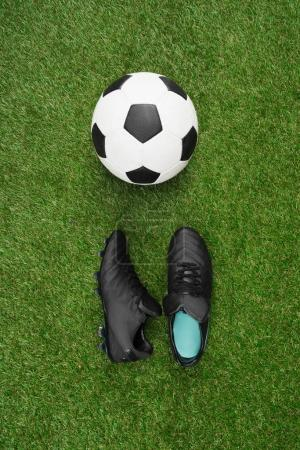 soccer ball with sports shoes