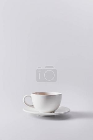 white coffee cup on saucer