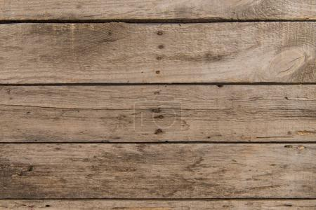 Photo for Top view of brown rustic wooden background with horizontal planks - Royalty Free Image