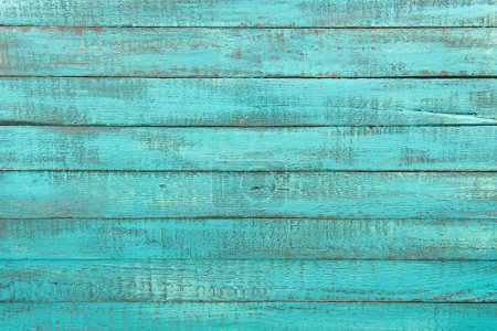 Photo for Top view of decorative rustic turquoise wooden background with horizontal planks - Royalty Free Image