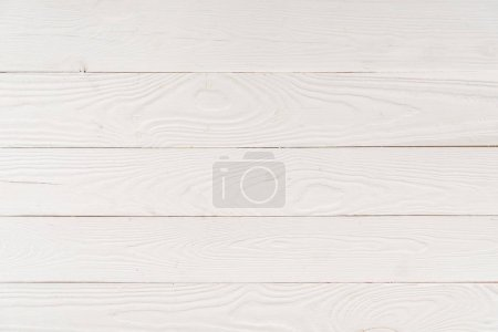 Photo for Top view of light wooden background with horizontal planks - Royalty Free Image