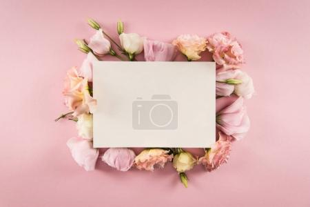 Photo for Top view of blank card and beautiful blooming flowers isolated on pink - Royalty Free Image