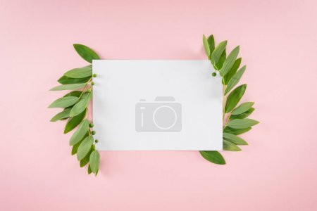 Photo for Top view of blank card with fresh green leaves isolated on pink - Royalty Free Image