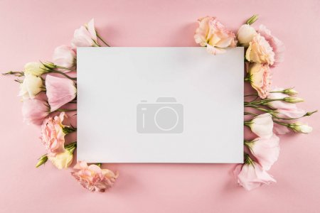 Photo for Top view of beautiful blooming flowers and blank card isolated on pink - Royalty Free Image
