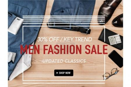 Photo for Men fashion sale banner template with stylish clothes, footwear and discount 30 percent - Royalty Free Image