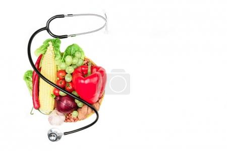fresh vegetables and stethoscope