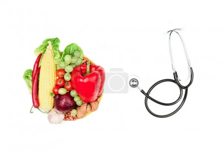 Photo for Set of various fresh vegetables, fruits and stethoscope isolated on white, healthy eating and living concept - Royalty Free Image