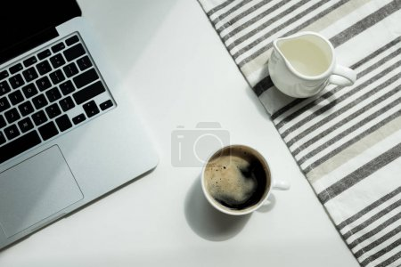 desk with laptop cand cup of coffee