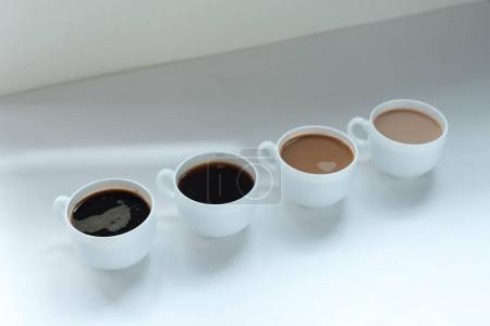 Different kinds of coffee in row