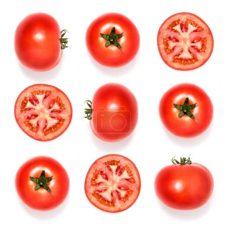 Photo for Composition of fresh tomatoes and slices isolated on white - Royalty Free Image