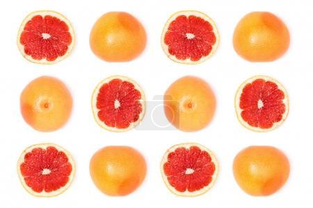 Foto de Composición de toronjas maduras frescas aislados en blanco - Imagen libre de derechos