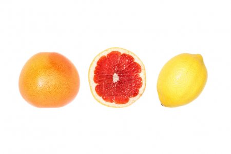 Photo for Composition of grapefruits and lemon in row isolated on white - Royalty Free Image