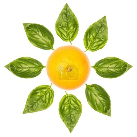 Photo for Frower made of orange and basil leaves isolated on white - Royalty Free Image