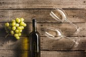 white wine with wineglasses and grapes