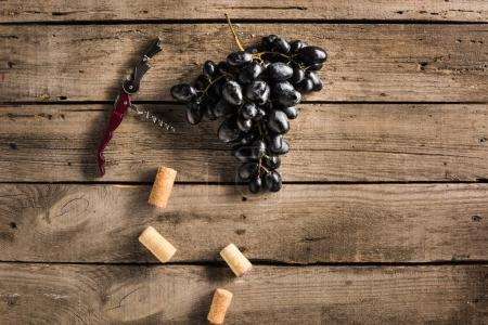 Corkscrew, corks and grapes