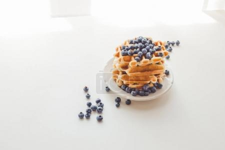 Tasty waffles with blueberries