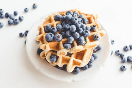 Photo for Plate of tasty belgian waffles with blueberries - Royalty Free Image