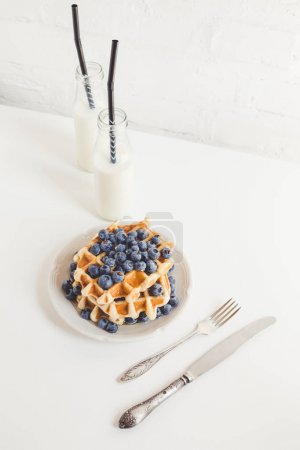 Photo for Healthy breakfast of waffles with blueberries and milk - Royalty Free Image
