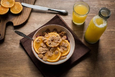 corn flakes and orange juice