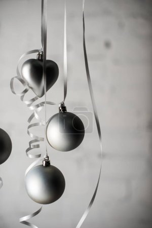 christmas balls on ribbons