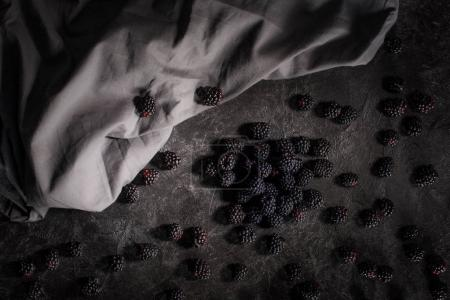 fresh blackberries and fabric