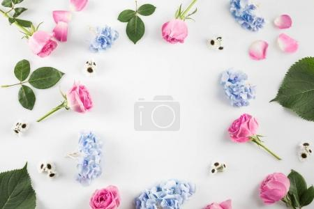 Photo for Floral composition with roses, hydrangea flowers and copy space, isolated on white - Royalty Free Image